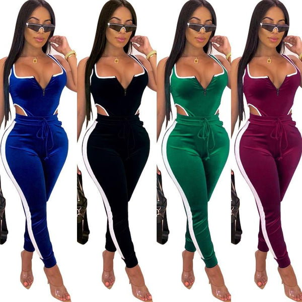 Plus Size Suit Bodysuit Pants 2 Piece Set