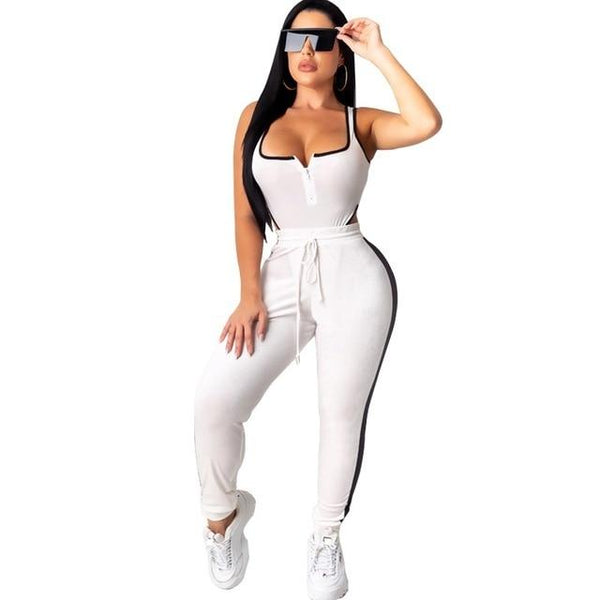 Six Color Two Piece Set Plus Size - white color