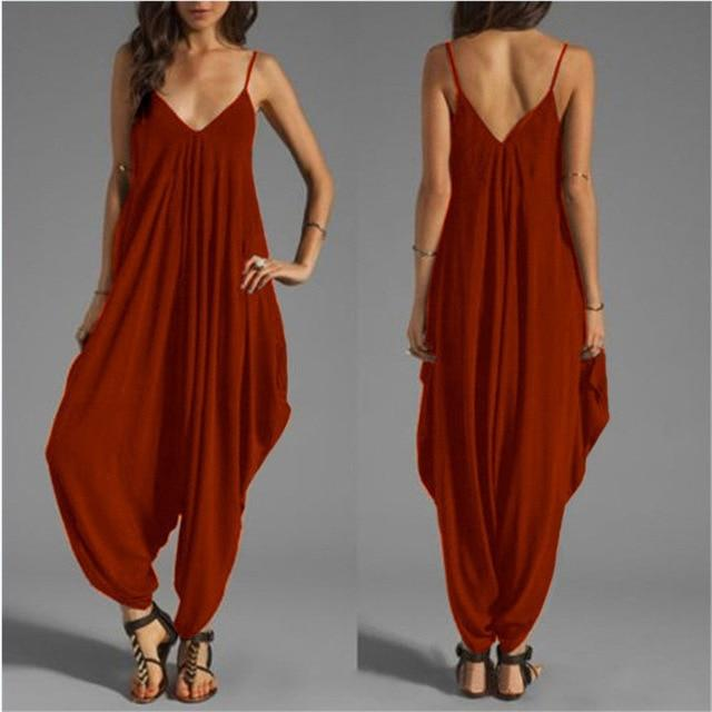Sleeveless Deep V Neck Jumpsuit
