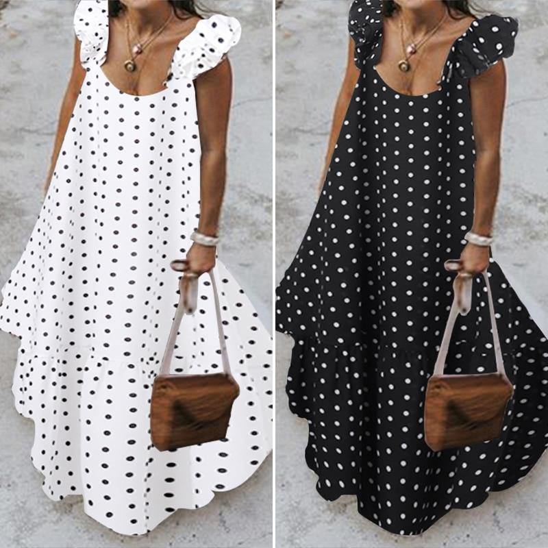 Black And White Polka Dot Maxi Dress - main picture