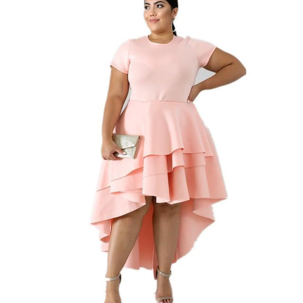 Plus Size Dress High Waist A-line Cascading Ruffle Vintage Dress