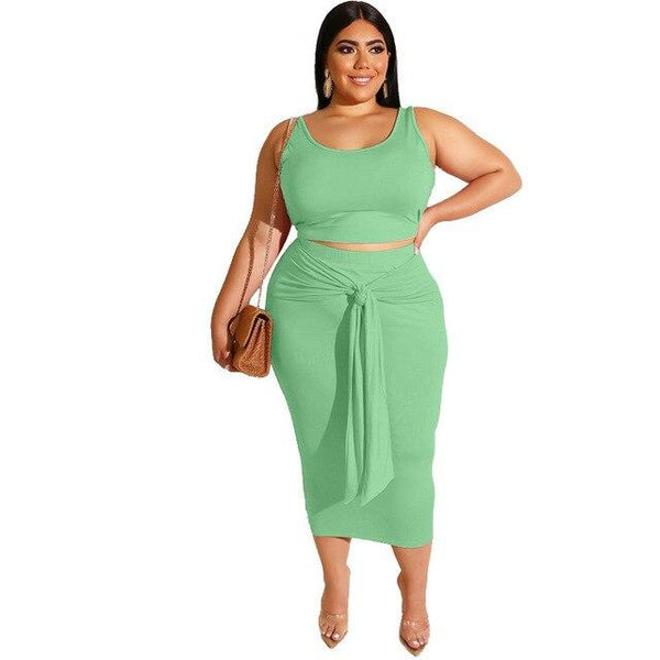 Sleeveless Crop Top and Skirt Set Ladies Sexy Plus Size Outfits Sets