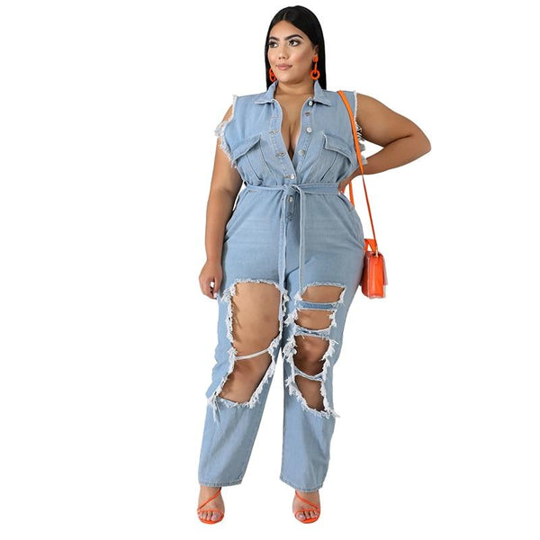 Plus Size Sleeveless England Denim Hole Blue Belt Jumpsuits