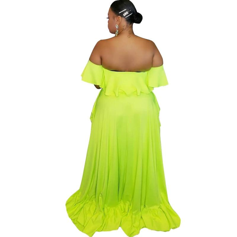 plus size 2 piece skirt and crop top set - green behind