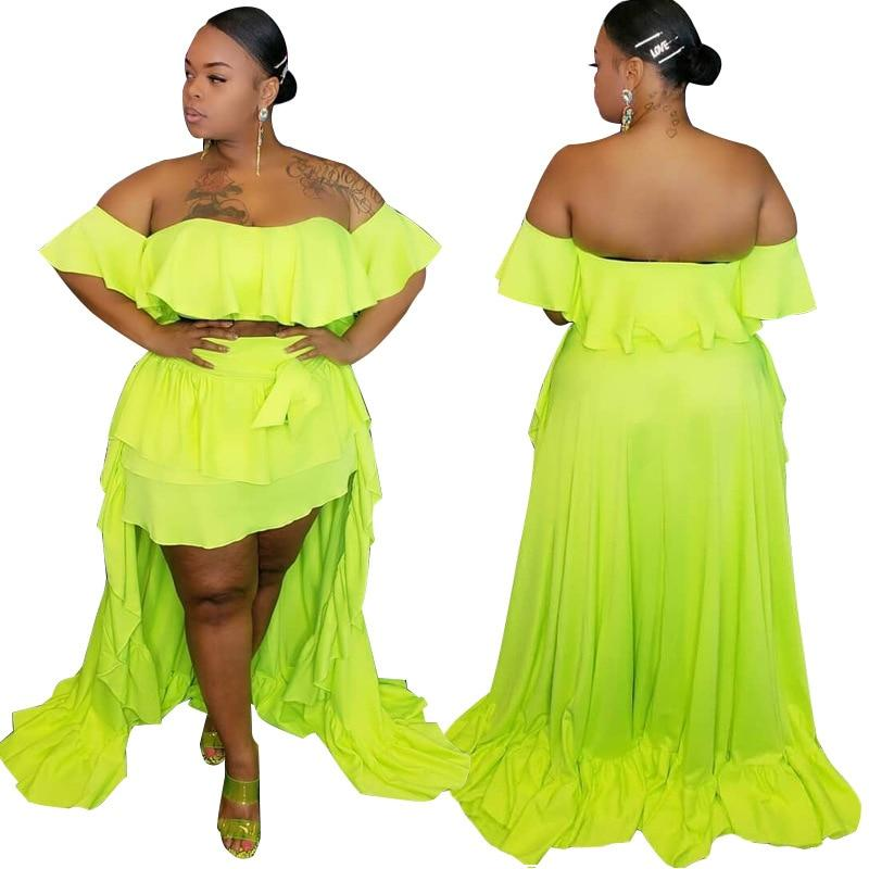 plus size 2 piece skirt and crop top set - green main picture