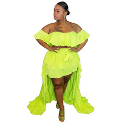 plus size 2 piece skirt and crop top set - green positive