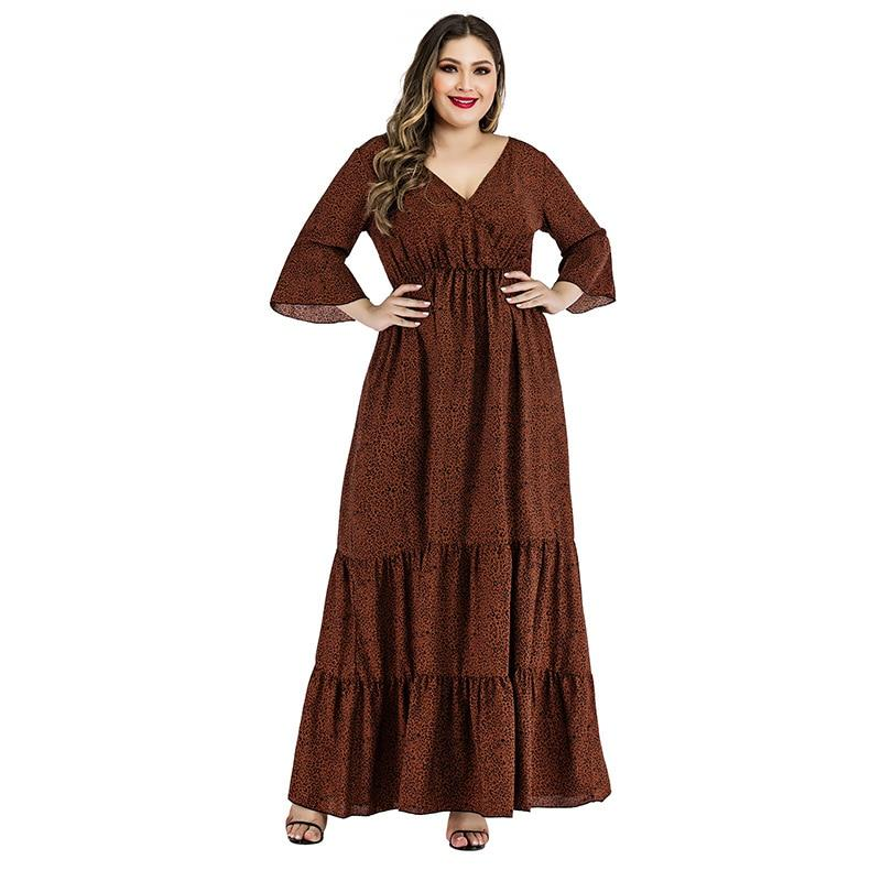 Plus Size Satin Dress - brown main picture