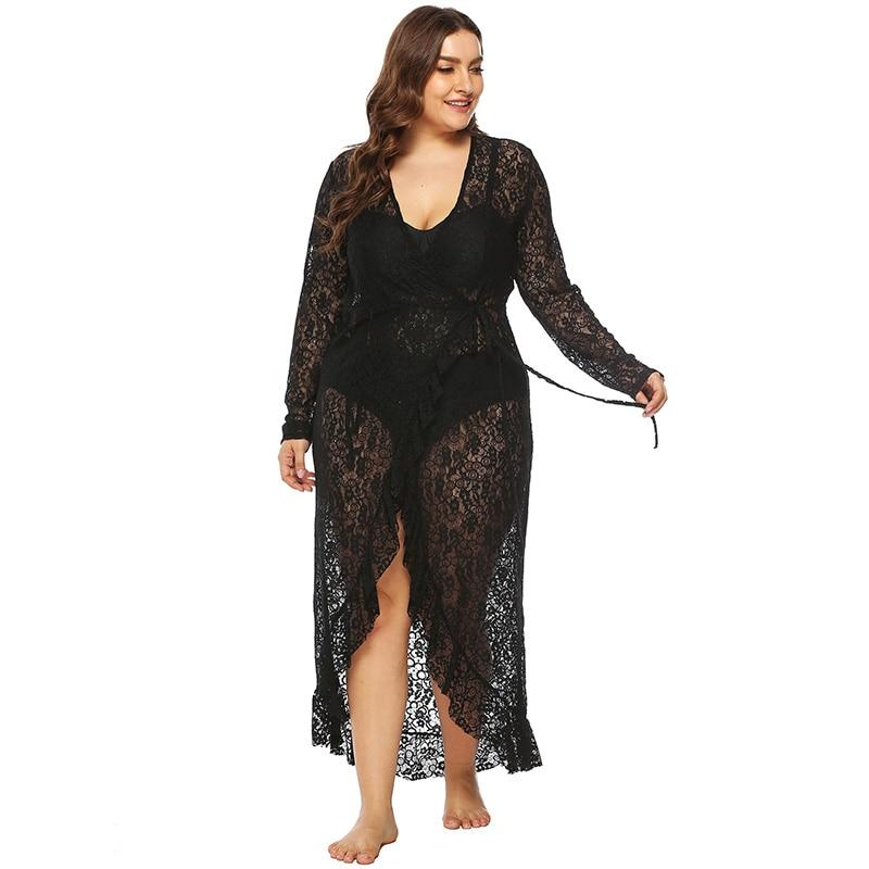 Plus Size Sexy V Neck Hollow Out Long Sleeve Irrgular Ruffled Lace Dress