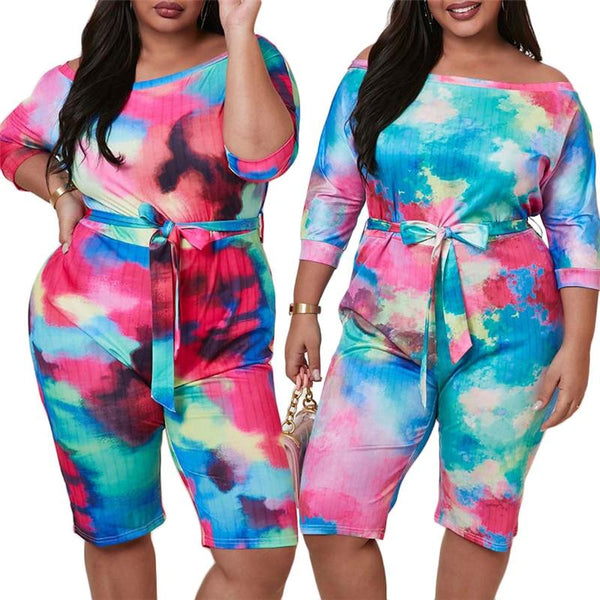 Plus Size Short Sleeve Sexy Slash Neck Shorts Jumpsuit