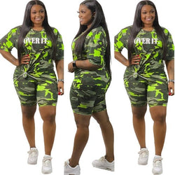 Plus Size Summer O Neck Short Sleeve - green color