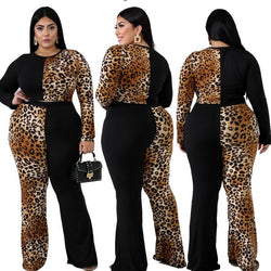 Plus Size Long Sleeve Crop Top and Loose Flare Trouser Set