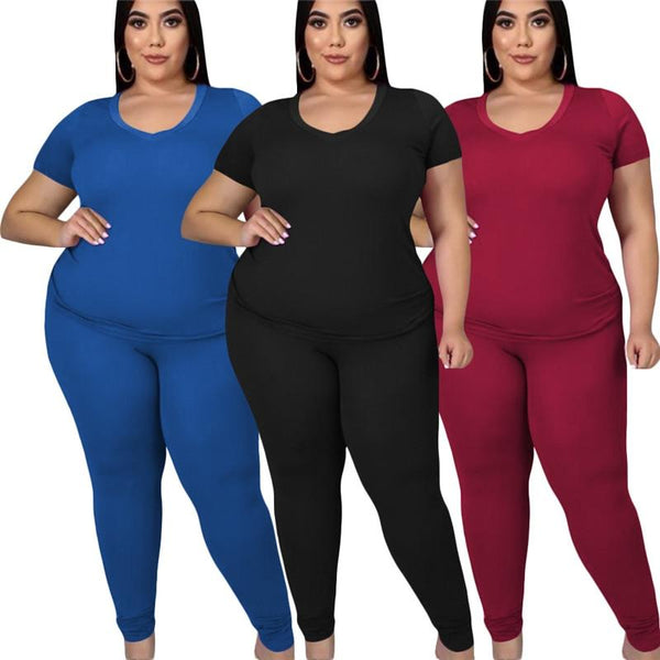 Plus Size Round Neck Tshirt Tops and Pants Set