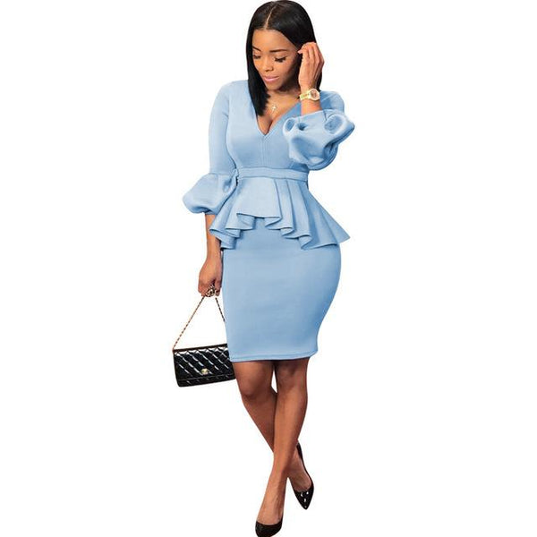 Intellectual Lantern Sleeve Air Layer Light Blue 2 Piece Casual Outfits