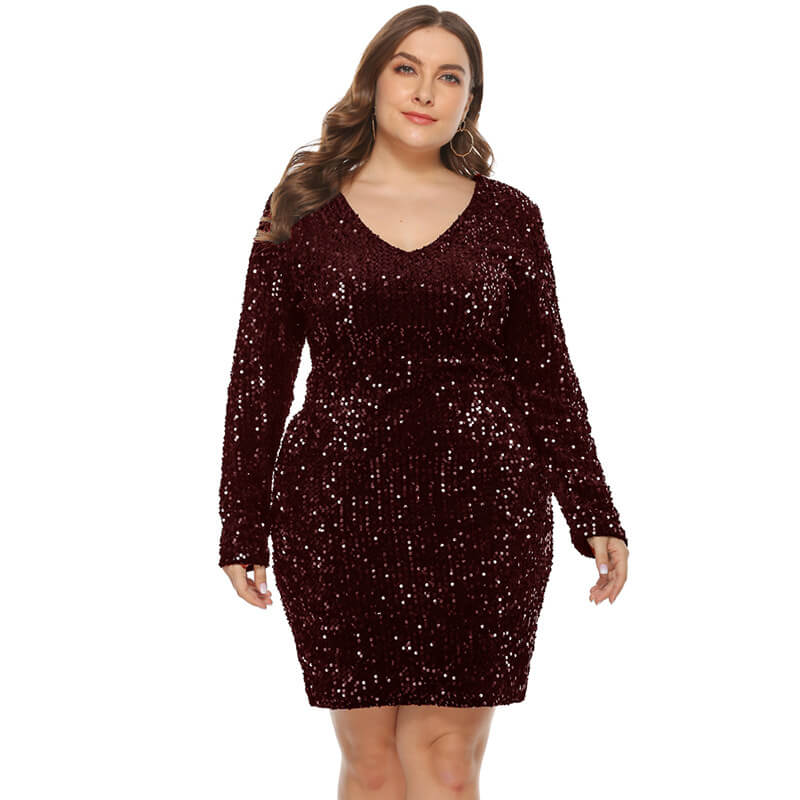Plus Size Sexy Sequins V Long Sleeve Dress