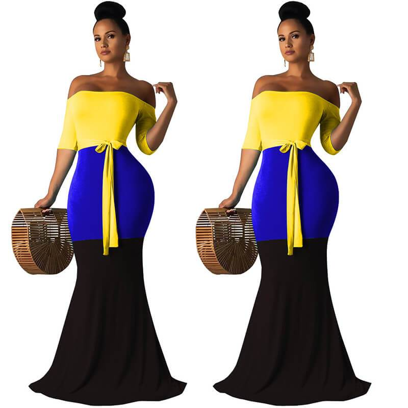 Strapless Maxi Dress Casual - Yellow Color
