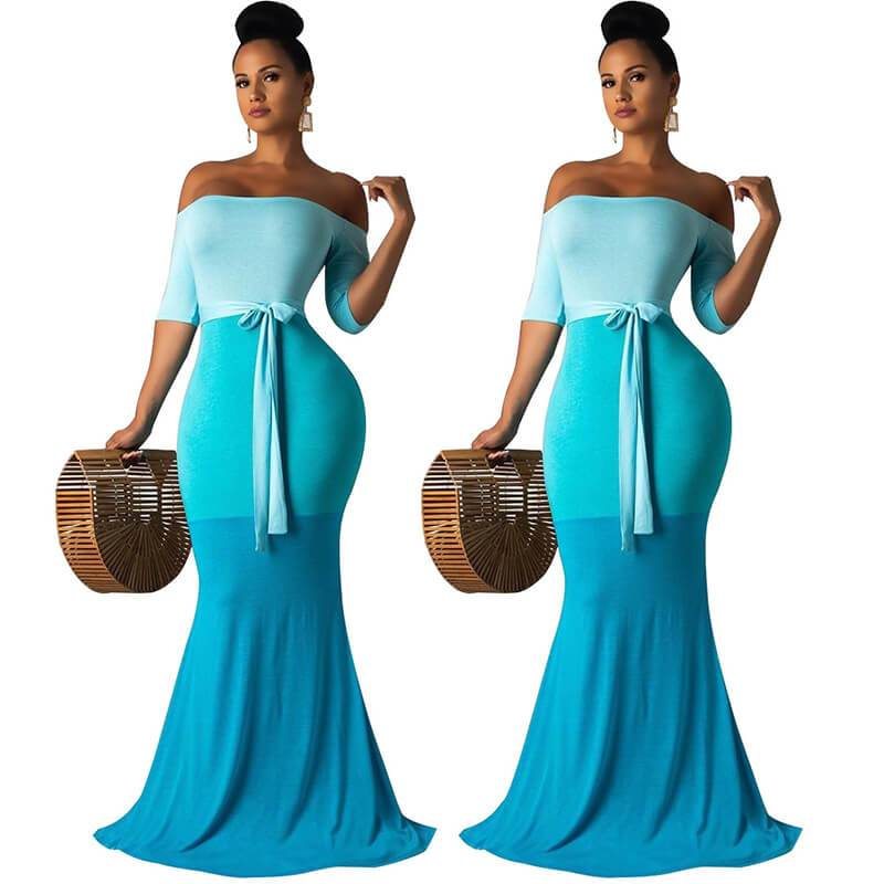Strapless Maxi Dress Casual - Blue Color