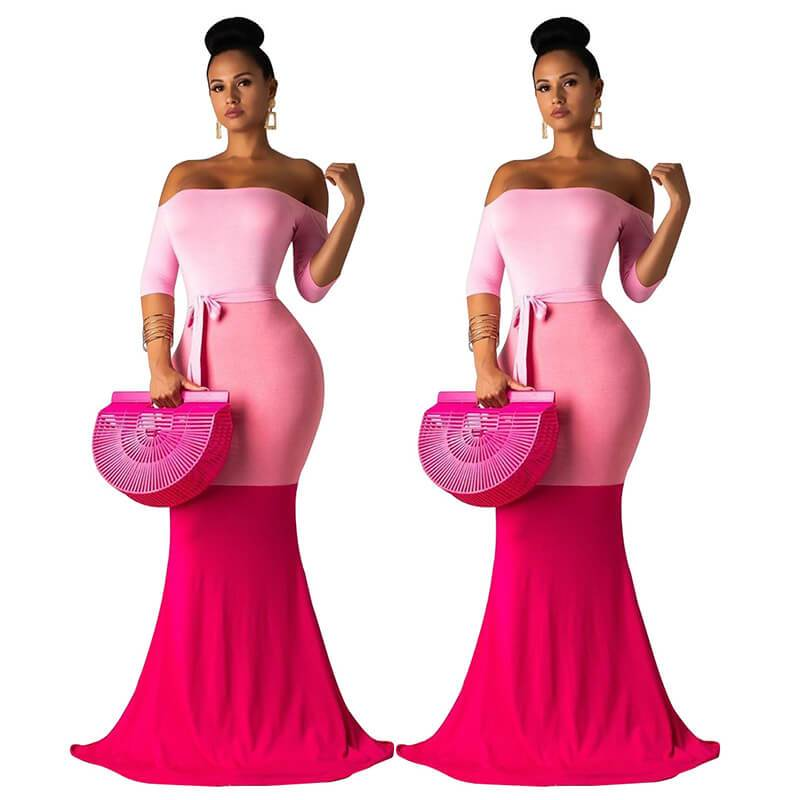 Strapless Maxi Dress Casual - Pink Color