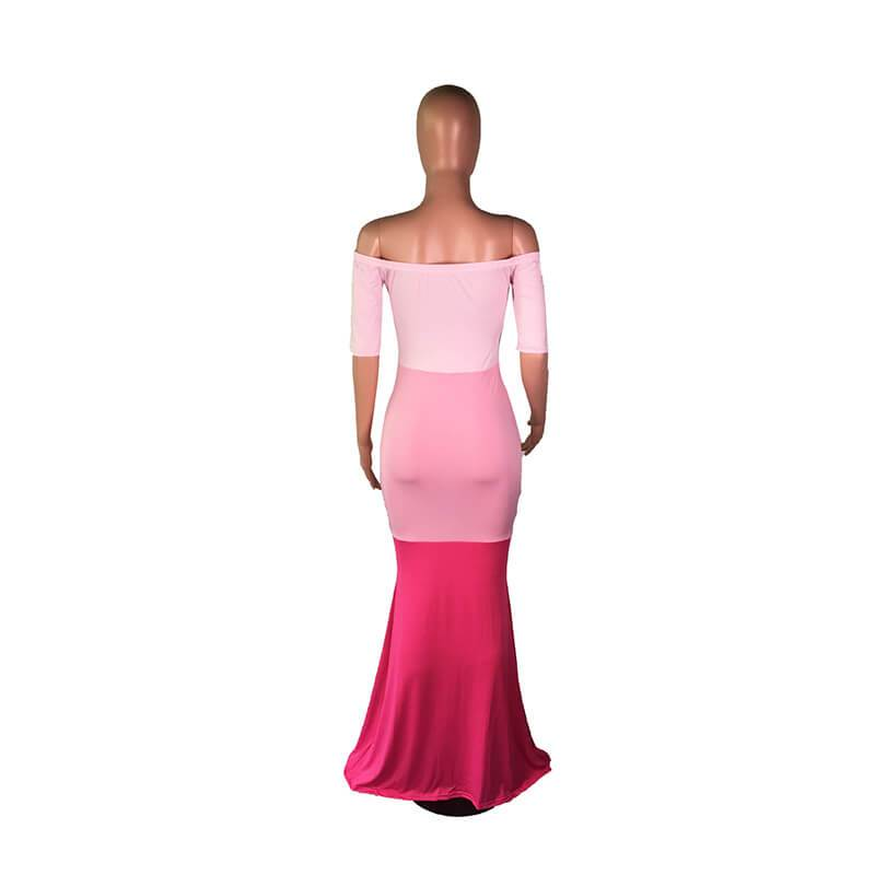 Strapless Maxi Dress Casual - Pink Color Model view