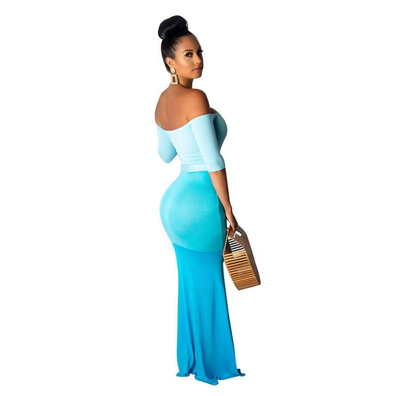 Strapless Maxi Dress Casual - Blue Color Right Side view