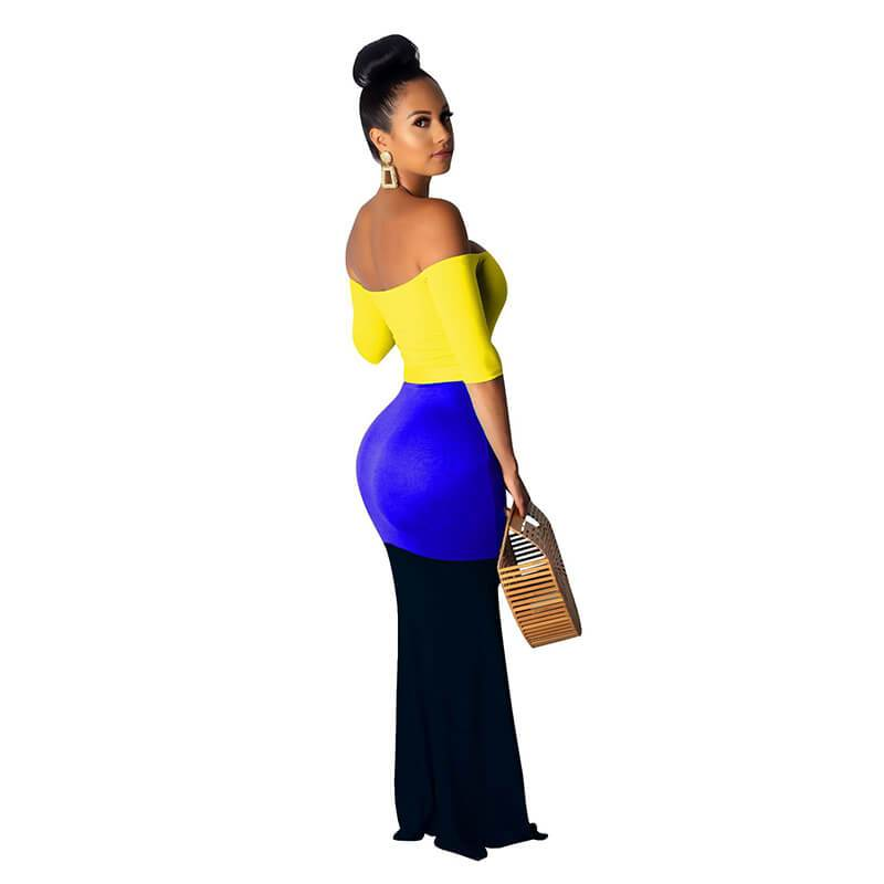 Strapless Maxi Dress Casual - Yellow Color Right Side view