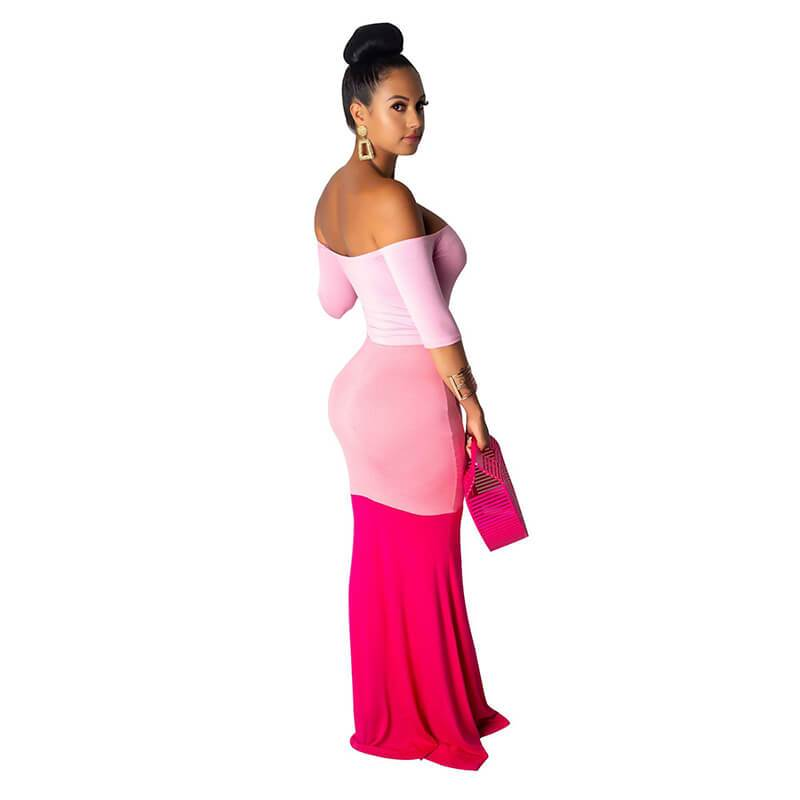 Strapless Maxi Dress Casual - Pink Color Right Side view