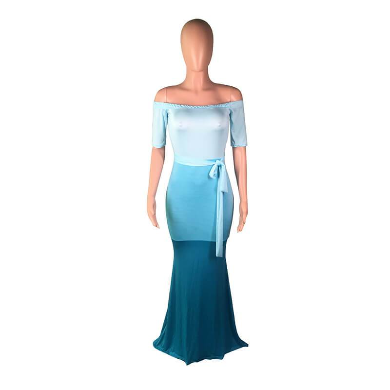 Strapless Maxi Dress Casual - Blue Color Model view