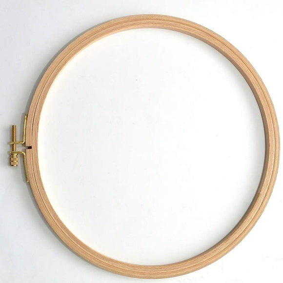 Natural Beech Wood 8mm Fine Polished Round Embroidery Hoop with Brass Adjustment Screw