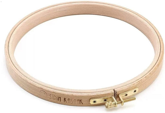Natural Beech Wood 17 mm Fine Polished Round Embroidery Hoop with Brass Adjustment Screw
