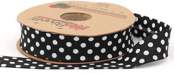 White Polka Dot Bias Binding Tape (Single Fold) 20mm-13/16inch (10meters-10.93yds) Various Colors, DIY Garment Accessories