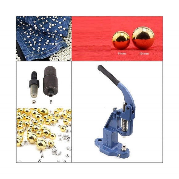 Gold color Pearl Rivet Set with Manual Grommet Machine  ( 8-10 mm)