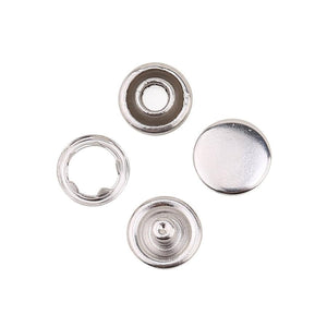 9.5 mm Capped Snap Fastener Baby Dress, Shirt Silver Press Studs