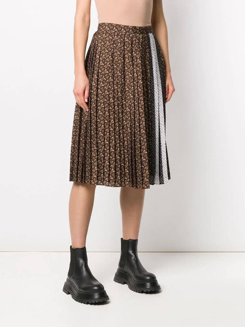 Brown Logo Pleated Skirt