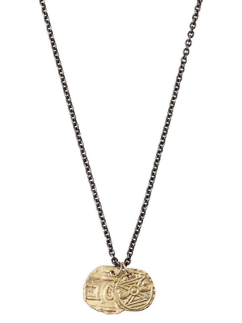 Silver & Gold Coins Oxidized Chain Necklace
