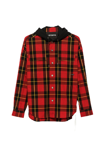 Red & Black Plaid Hooded Shirt