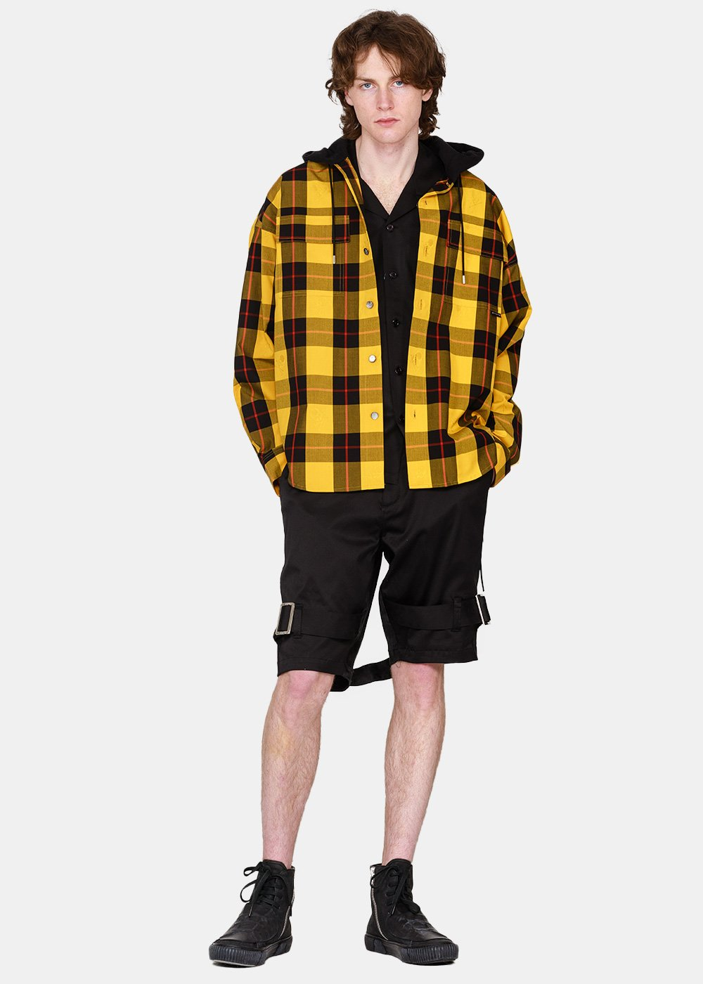 Yellow & Black Plaid Hooded Shirt