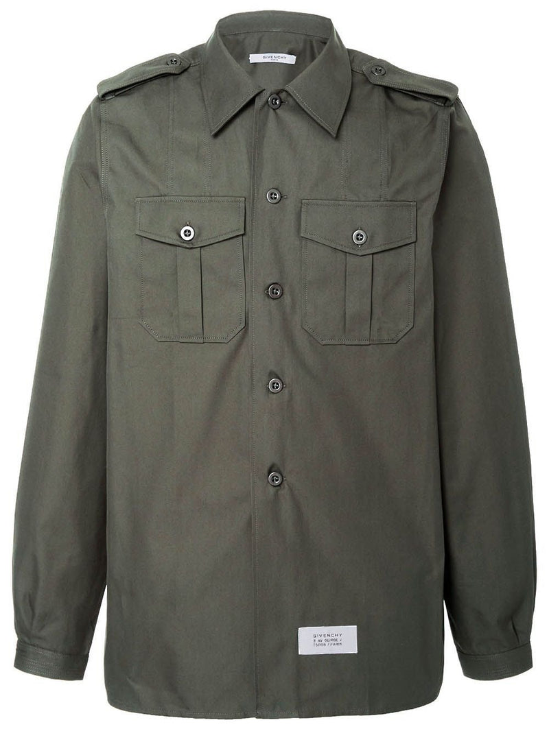 Green Military Long Sleeve Button-Down Shirt