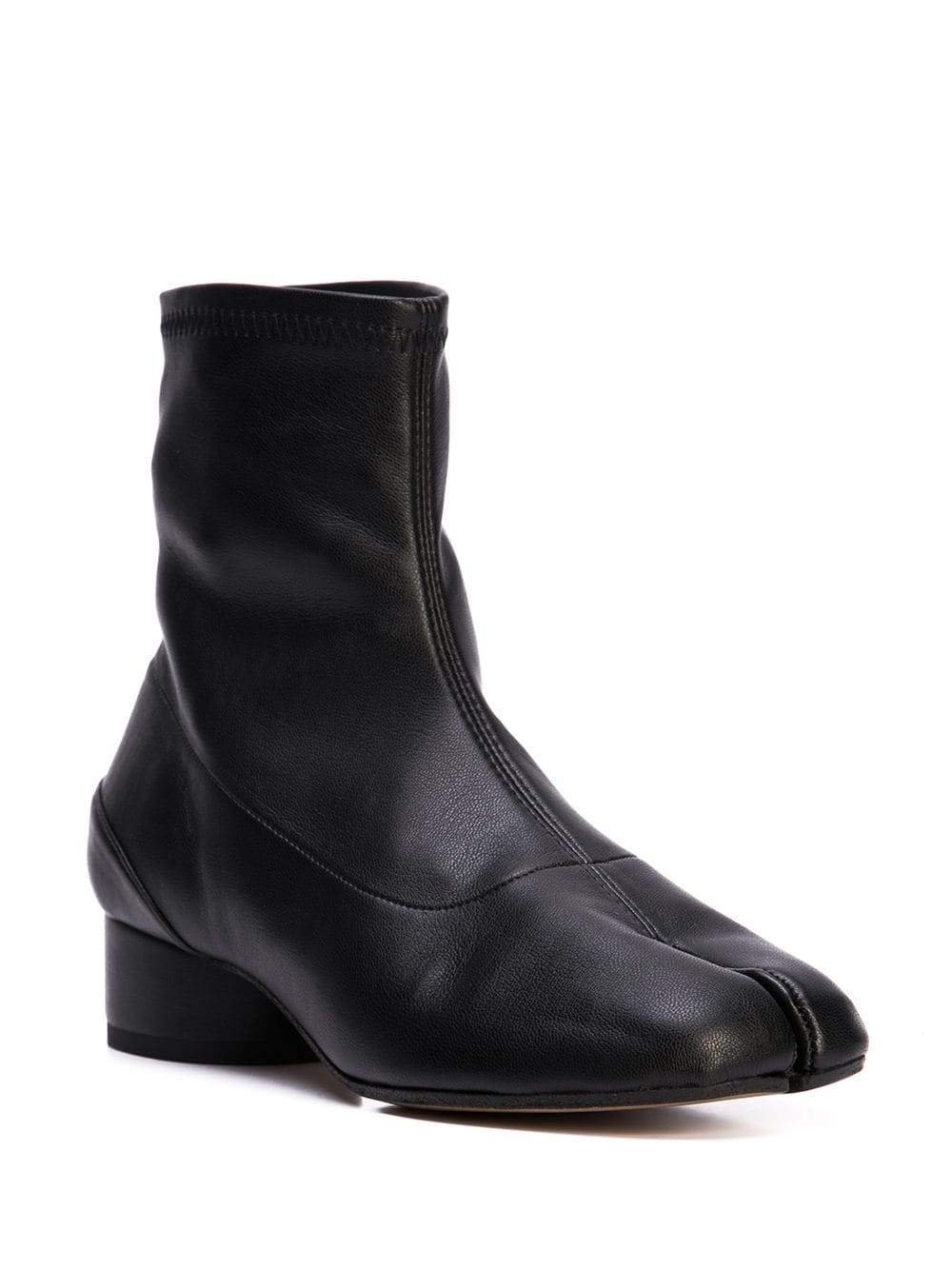 Black Stretch Leather Low Heel Tabi Boots