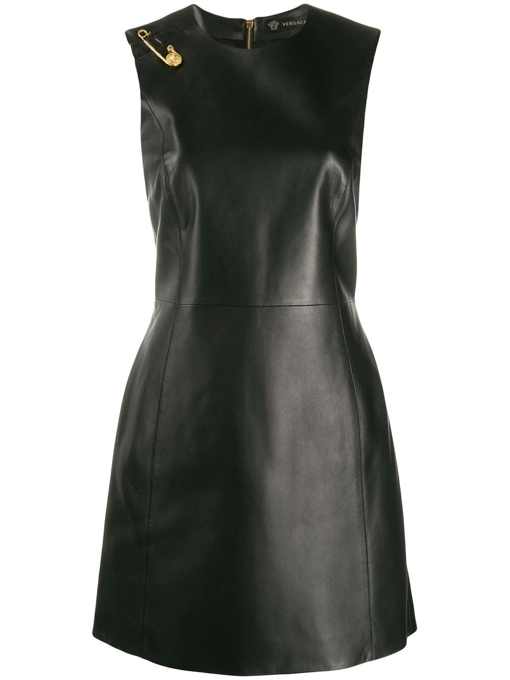 Black Safety Pin Leather Dress