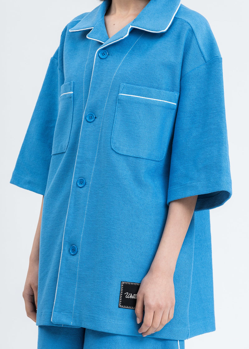 Blue Zurry Pyjama Top Short Sleeve Shirt