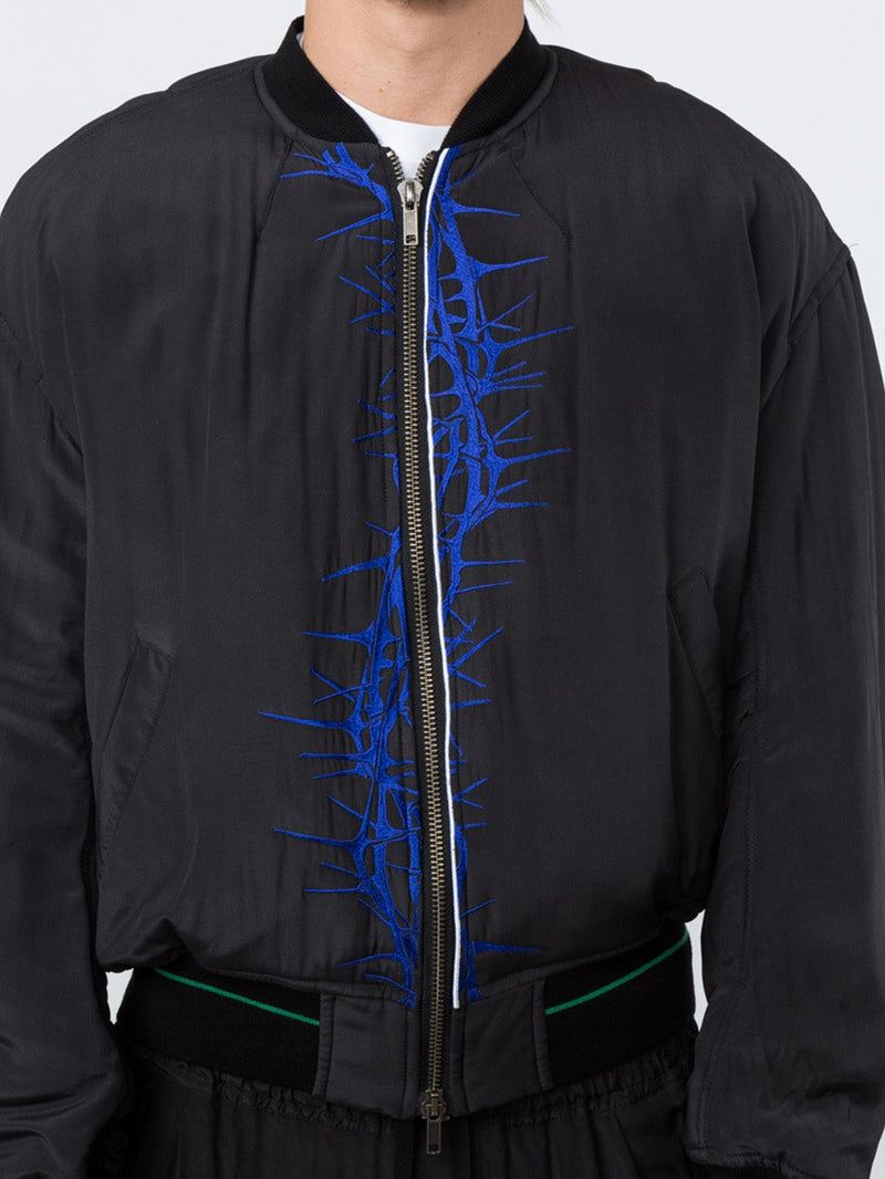 Black Silk Bomber Jacket