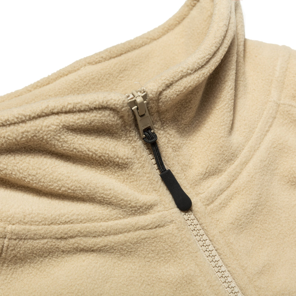 Cream Mock Neck Half-zip Polar Fleece Sweater