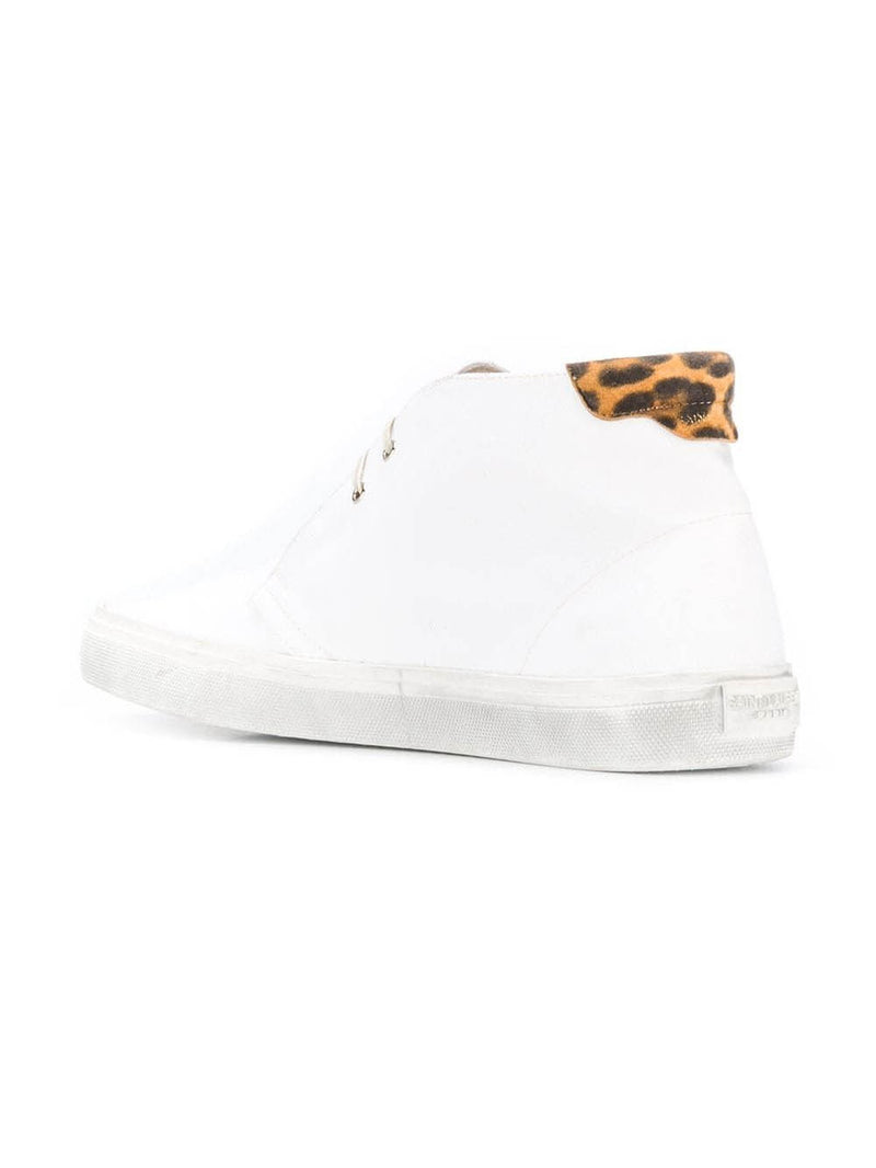 White Leopard Detail Low-Top Sneakers