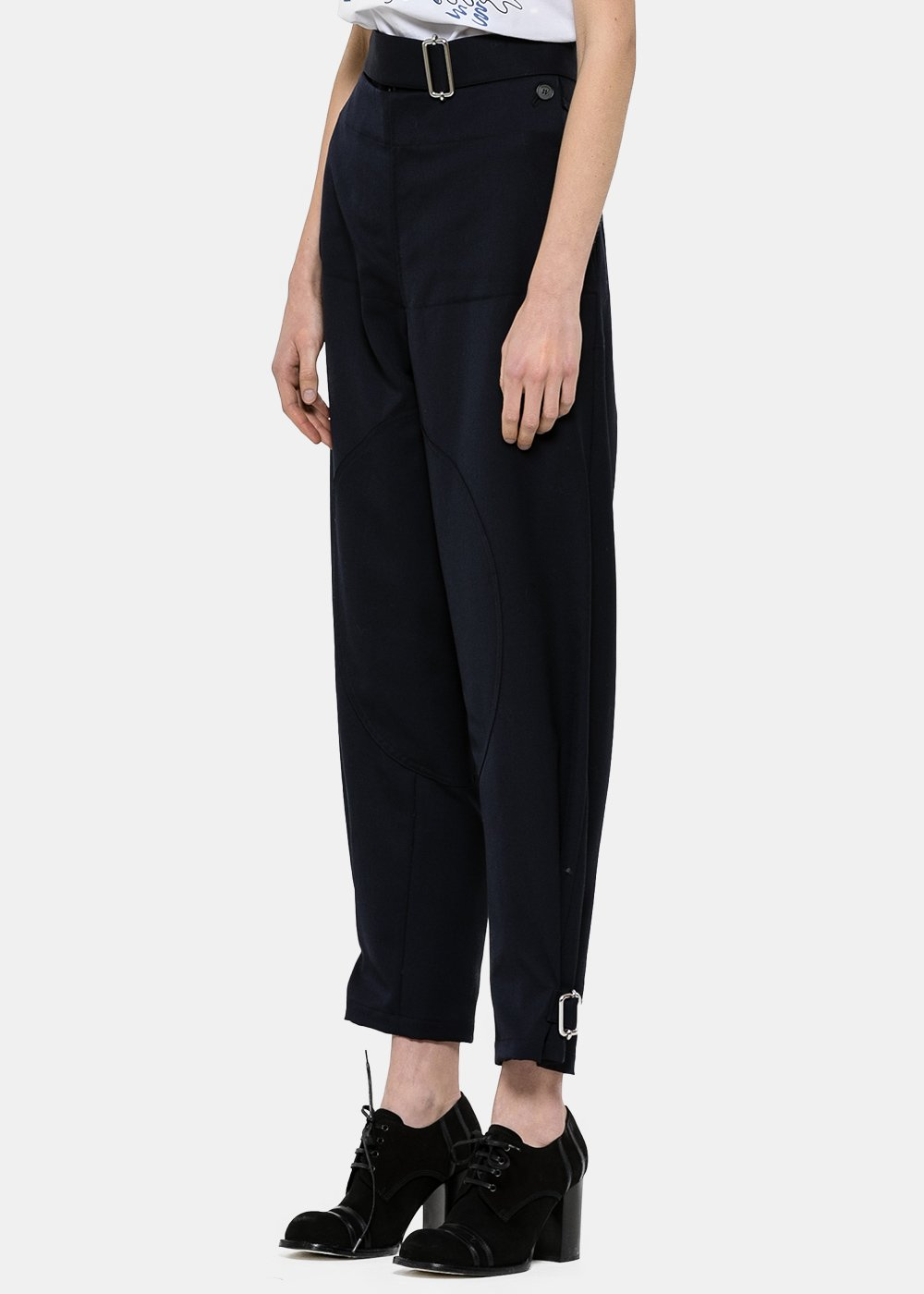 Navy Folded Front Trousers