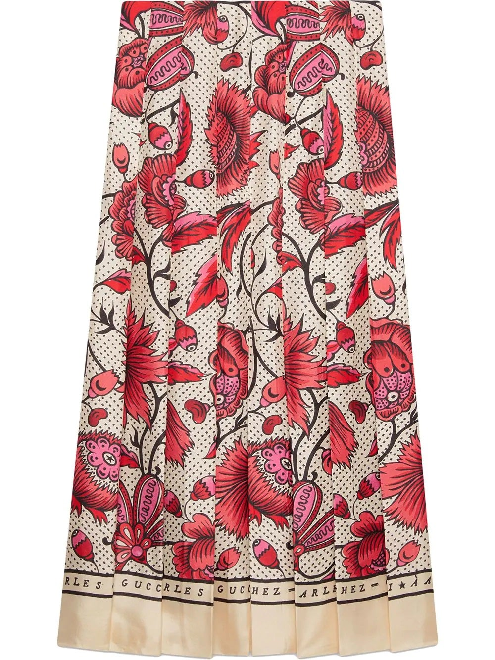 Multi Silk Watercolor Flower Print Skirt