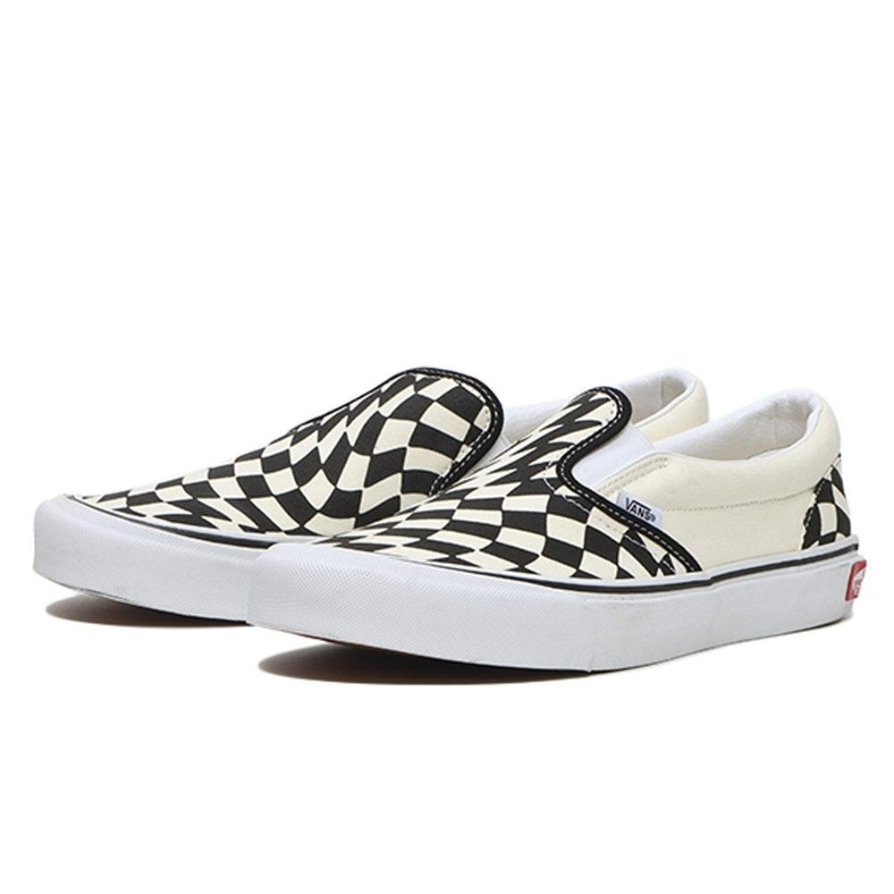 White & Black Classic Slip On Twist Sneakers