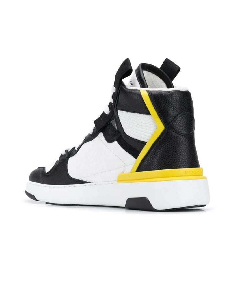 Black & White High Top Wing Sneakers