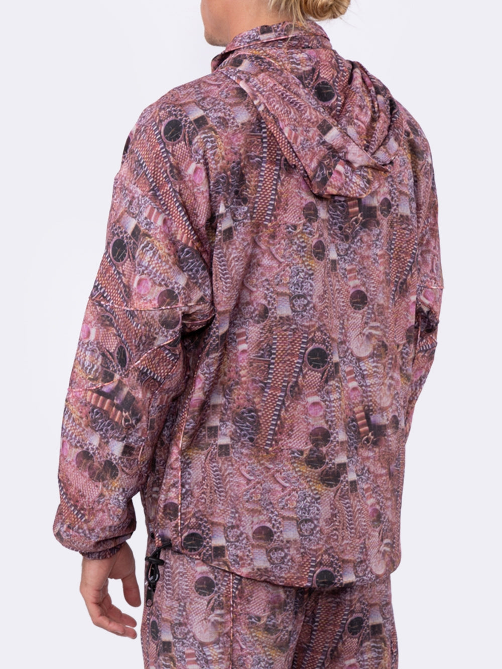 Purple Hustler Print Nylon Track Jacket