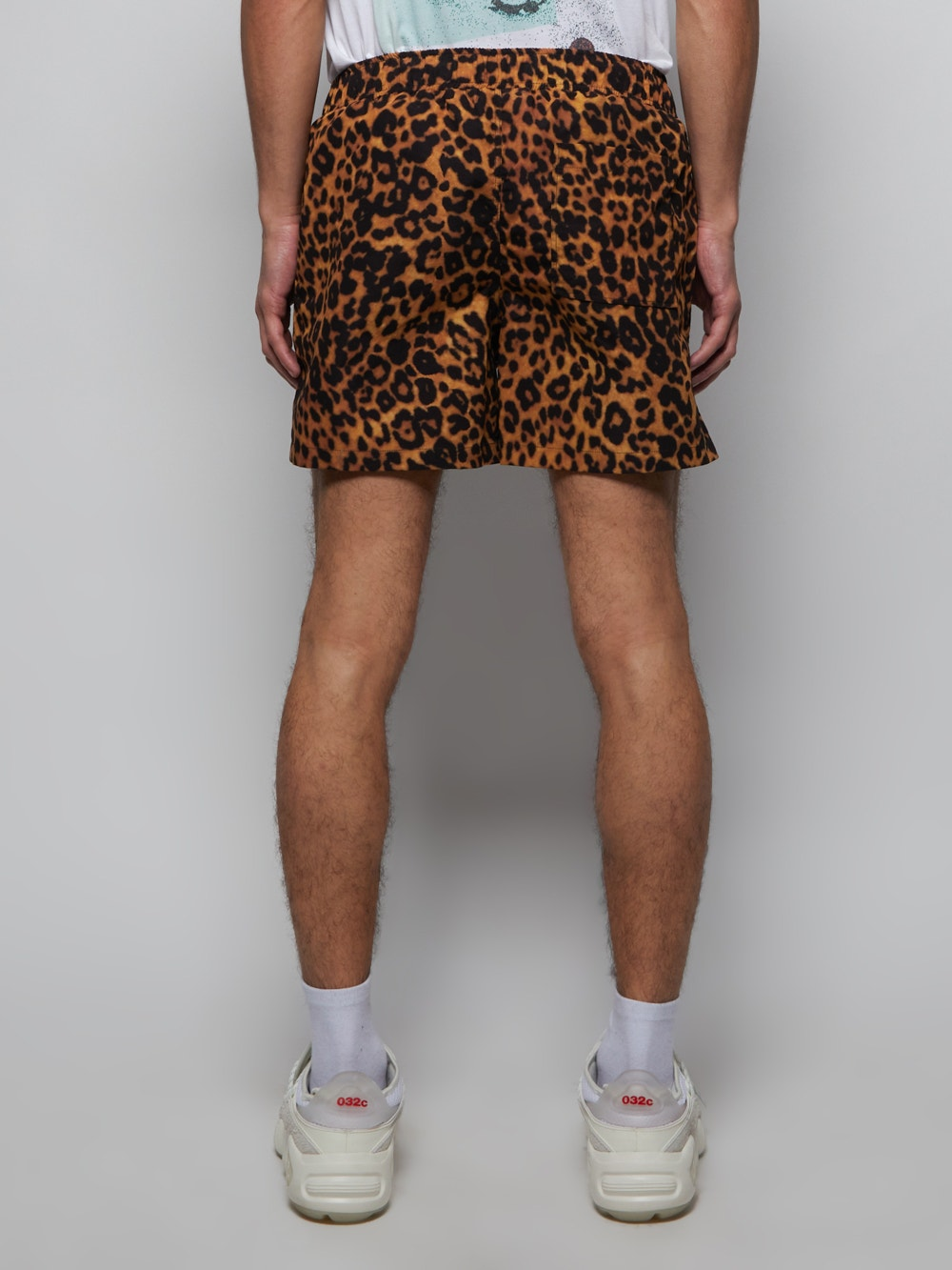 Brown Leopard Print Logo Swim Short
