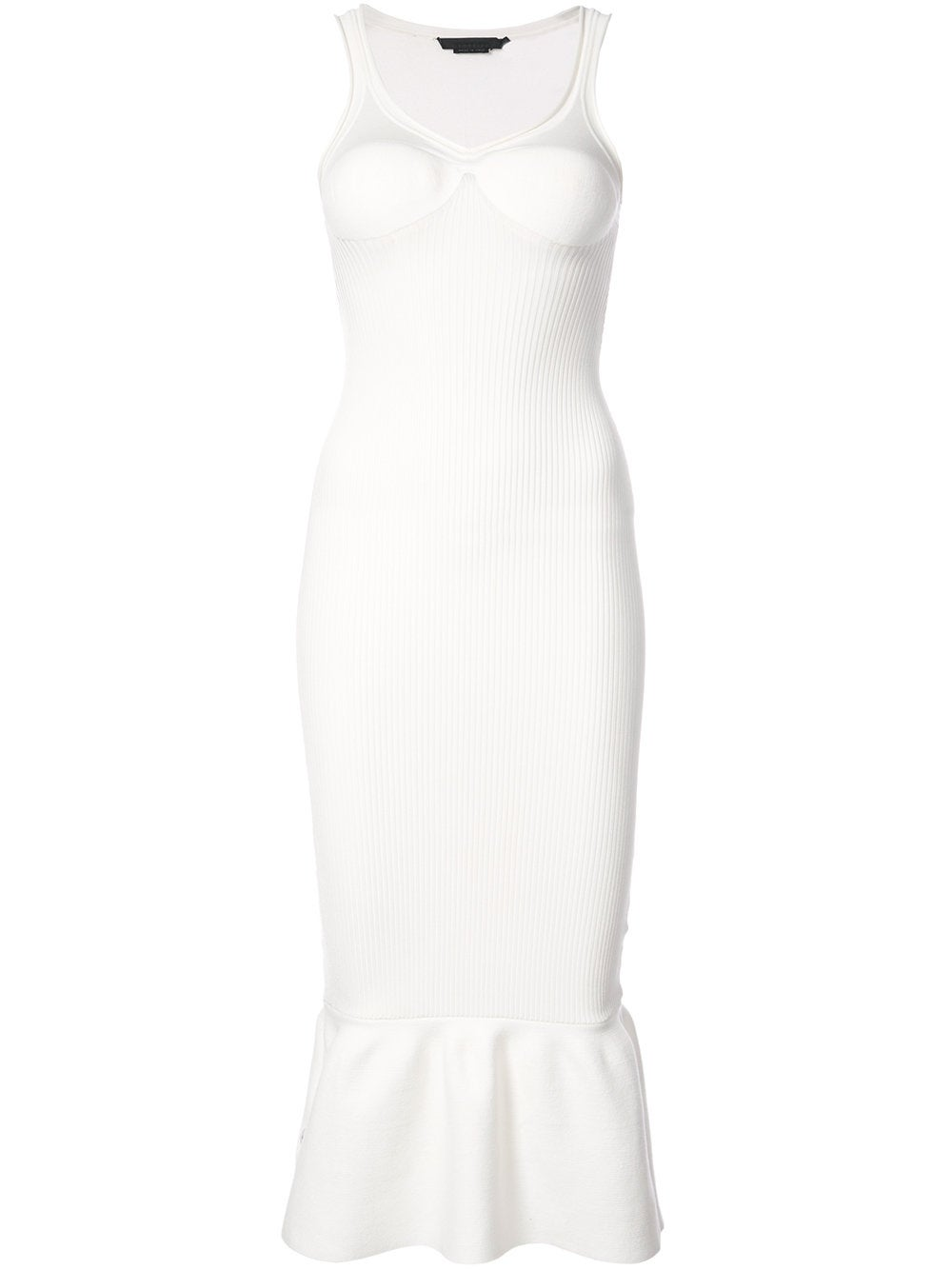 White Peplum Hem Bodycon Dress