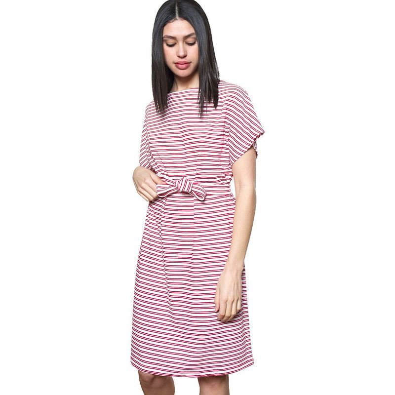 Red & White Julia Striped Dress